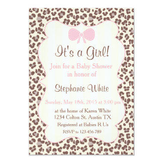 Baby Shower girl pink leopard 13 Cm X 18 Cm Invitation Card