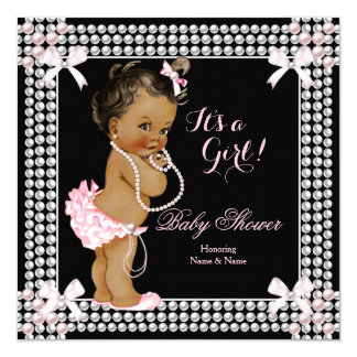 Baby Shower Girl Pink Pearls Black Ethnic 13 Cm X 13 Cm Square Invitation Card