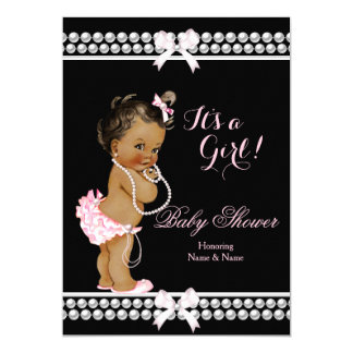 Baby Shower Girl Pink Pearls Black Ethnic Card