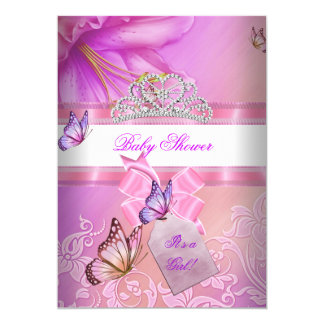 Baby Shower Girl Pink Purple Princess Butterfly 2 13 Cm X 18 Cm Invitation Card