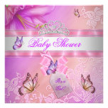 Baby Shower Girl Pink Purple Princess Butterfly Personalised Invitations