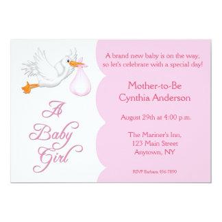 Baby Shower Girl Pink Stork 13 Cm X 18 Cm Invitation Card