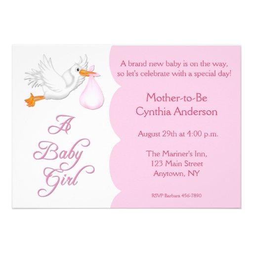 Baby Shower Girl Pink Stork Custom Invites