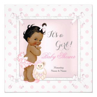 Baby Shower Girl Pink Toy Polka Dot Ethnic 13 Cm X 13 Cm Square Invitation Card