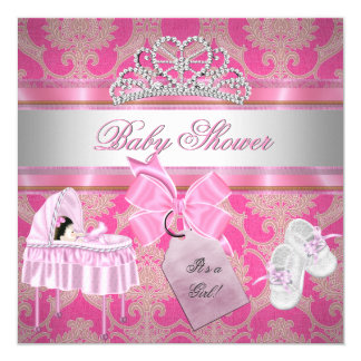 "Baby Shower Girl Pink White Princess 5.25"" Square Invitation Card"