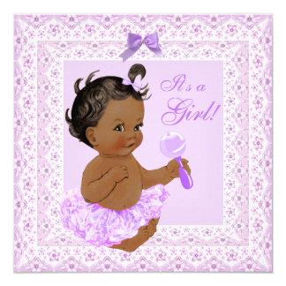 Baby Shower Girl Pretty Lavender Lace Ethnic 13 Cm X 13 Cm Square Invitation Card
