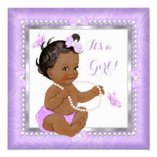 Baby Shower Girl Purple Pearl Butterfly Ethnic 13 Cm X 13 Cm Square Invitation Card