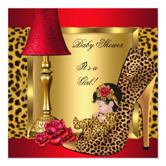 "Baby Shower Girl Red Gold Roses Leopard Shoe 1 5.25"" Square Invitation Card"