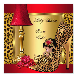"Baby Shower Girl Red Gold Roses Leopard Shoe AA 5.25"" Square Invitation Card"