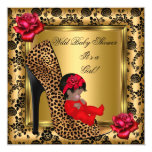 Baby Shower Girl Red Roses Gold Wild Leopard 4 13 Cm X 13 Cm Square Invitation Card