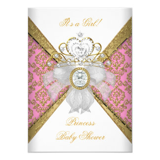 Baby Shower Girl White Pink Princess Damask 11 Cm X 16 Cm Invitation Card