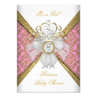 Baby Shower Girl White Pink Princess Damask 11 Cm X 16 Cm Invitation Card