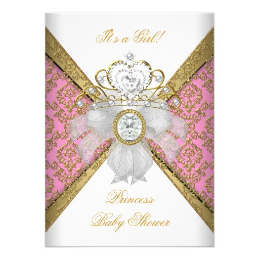 Baby Shower Girl White Pink Princess Damask Invitation