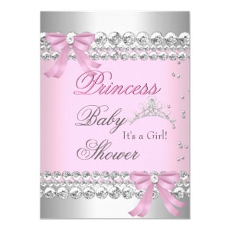 Baby Shower Girl White Pink Princess Tiara Gem 2 11 Cm X 16 Cm Invitation Card