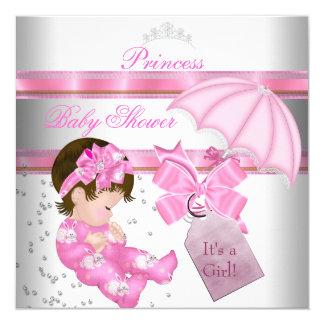 Baby Shower Girl White Pink Princess Tiara 5.25x5.25 Square Paper Invitation Card