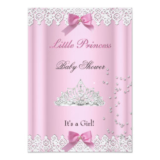 Baby Shower Girl White Pink Princess Tiara Lace 11 Cm X 16 Cm Invitation Card