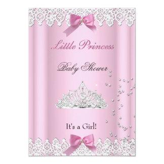Baby Shower Girl White Pink Princess Tiara Lace Card