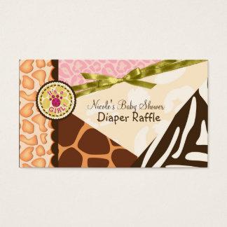 Baby Shower Girls Pink Safari Print Diaper Raffle