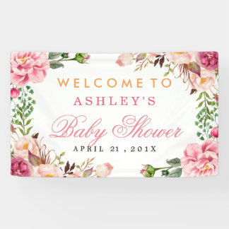 Baby Shower Girly Elegant Chic Pink Floral