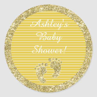 "Baby Shower ""Gold Baby Feet"" Stickers 1 1/2"" or 3"""