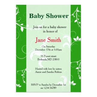 Baby shower green floral 17 cm x 22 cm invitation card
