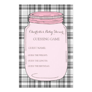 Baby Shower Guessing Game Pink Mason Jar Stationery