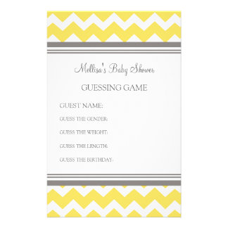 Baby Shower Guessing Game Yellow Chevron Stationery