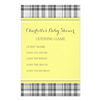 Baby Shower Guessing Game Yellow Grey Plaid Stationery