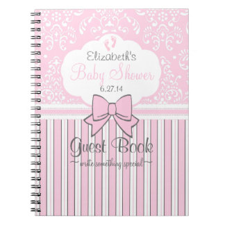 Baby Shower Guest Book Pink Damask and Stripes Note Books