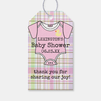 Baby Shower Guest Favor Thank You Pink Plaid Gift Tags