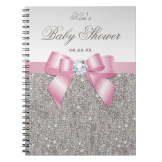 Baby Shower Guestbook Faux Silver Sequins Pink Bow Notebooks