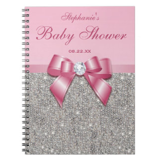Baby Shower Guestbook Silver Sequins Pink Bow Notebooks