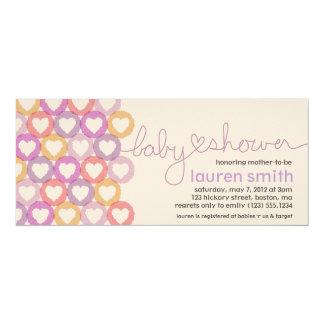 "Baby Shower Heart Invitation Girl 4"" X 9.25"" Invitation Card"