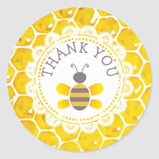 Baby Shower Honeybee Thank You Honeycomb Stickers