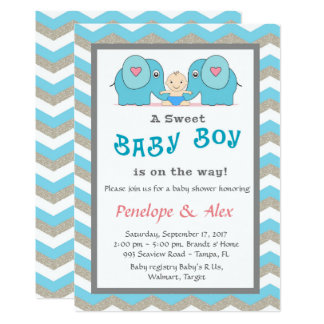 Baby Shower honoring Boy, blue, white, color Card