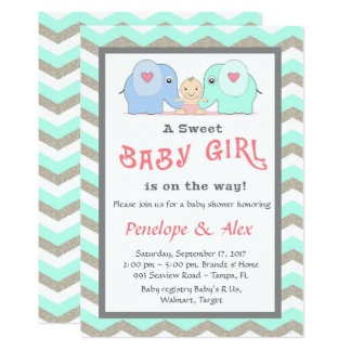 Baby Shower honoring Girl, mint, white, color Card
