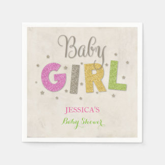 Baby Shower in Glitter with Stars Gender Neutral Disposable Napkin