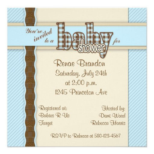 baby boy shower invitation easily put all the shower details on front