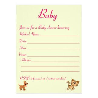 Baby shower invitation. 17 cm x 22 cm invitation card