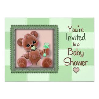 "Baby Shower Invitation - Baby Teddy Bear/Green 5"" X 7"" Invitation Card"