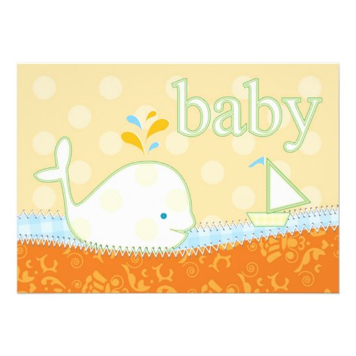 baby shower invitation baby whale 13 cm x 18 cm invitation card