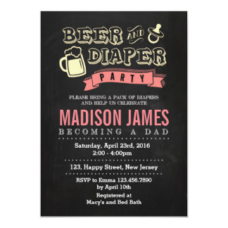 Baby Shower Invitation. Beer and Diaper Card