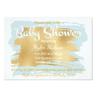 Baby Shower Invitation Blue/Gold