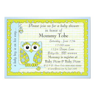 Baby Shower Invitation Blue Green Owl
