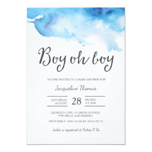 Boy baby shower invitations announcements zazzle baby shower invitation boy oh boy watercolour filmwisefo Choice Image