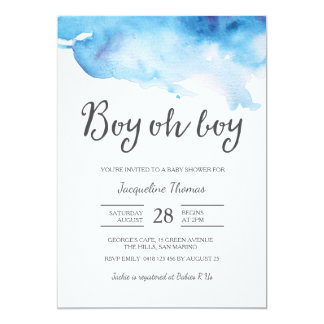 Baby Shower Invitation | Boy oh boy watercolour