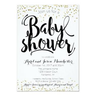Baby Shower Invitation Card, Black White & Gold