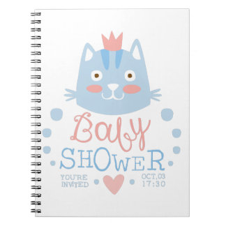 Baby Shower Invitation Design Template With Cat Notebook