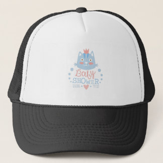 Baby Shower Invitation Design Template With Cat Trucker Hat