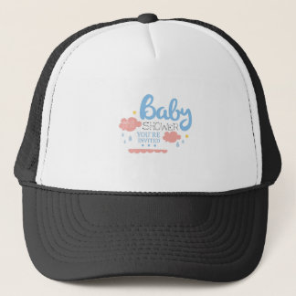 Baby Shower Invitation Design Template With Clouds Trucker Hat
